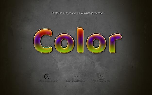 Efeito de texto de estilo de camada brilhante 3d photoshop Psd Premium