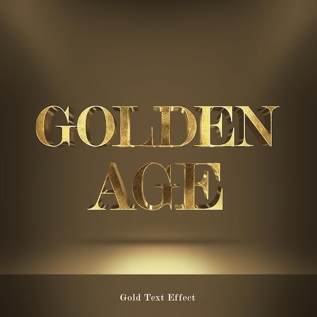 Efeito de texto de estilo de fontes de idade dourada Psd Premium