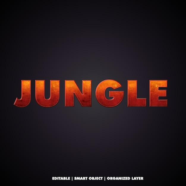 Efeito de texto de estilos de selva cinematográfica Psd Premium