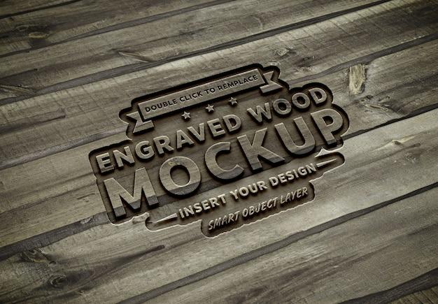 Efeito de texto de madeira esculpida mockup Psd Premium