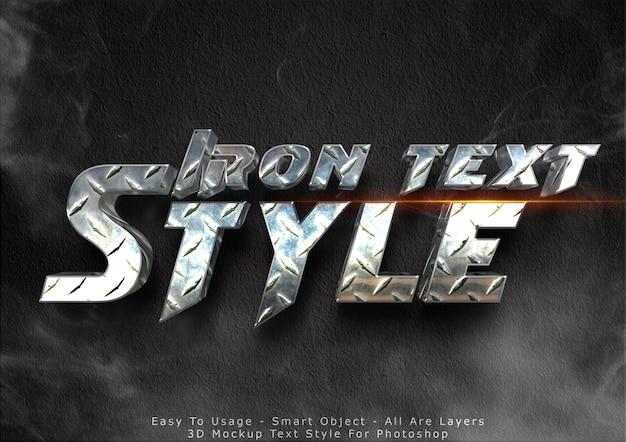 Efeito de texto de maquete de ferro 3d Psd Premium