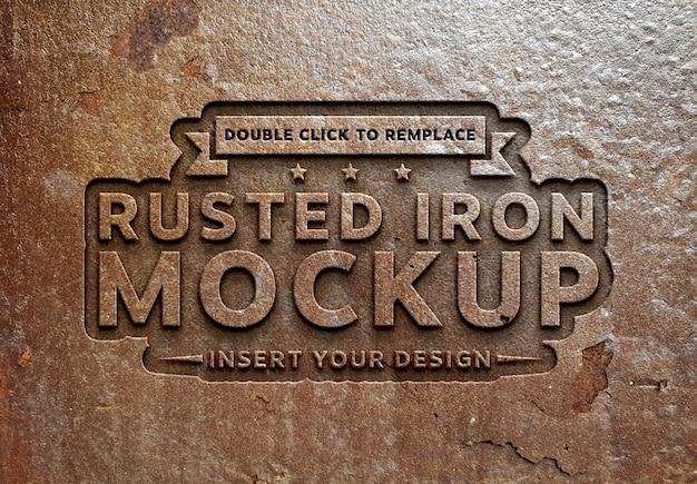 Efeito de texto de metal enferrujado mockup Psd Premium