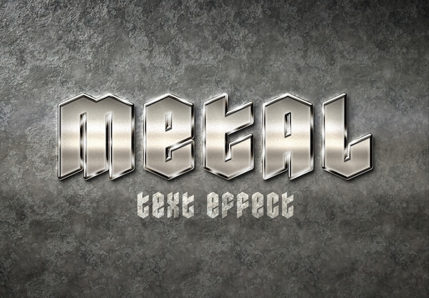 Efeito de texto de metal Psd Premium