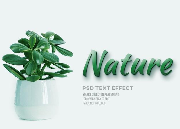 Efeito de texto de natureza verde planta Psd Premium