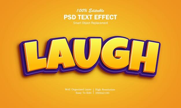 Efeito de texto do logotipo do jogo de riso 3d Psd Premium