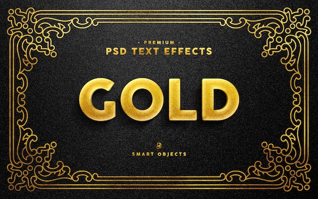 Efeito de texto dourado Psd Premium