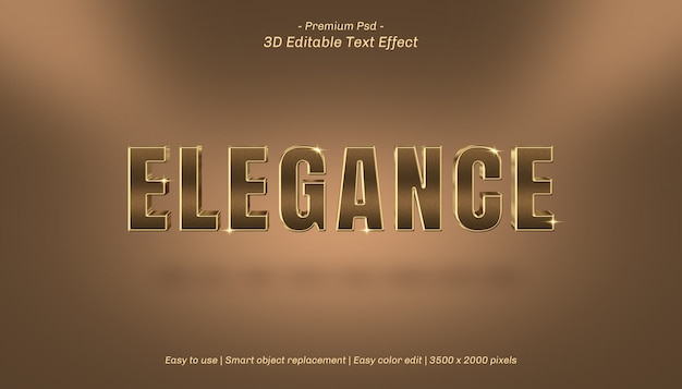 Efeito de texto editável da elegância 3d Psd Premium