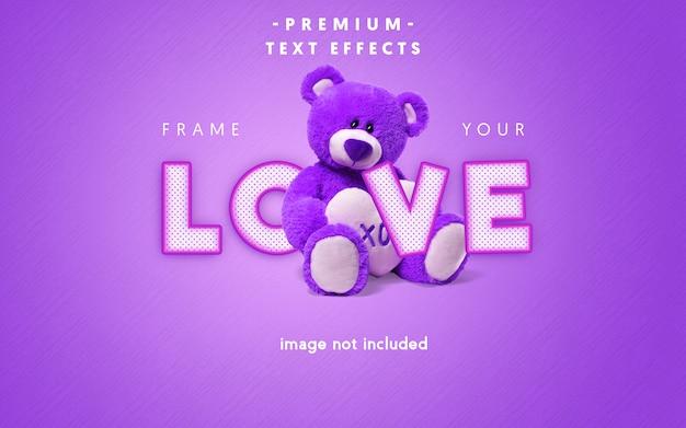 Efeito de texto editável de amor Psd Premium