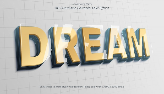Efeito de texto editável do 3d dream Psd Premium