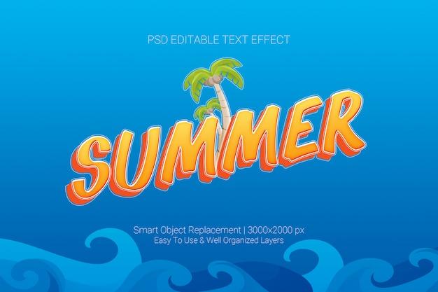 Efeito de texto editável do conceito de verão no esquema de cores azul laranja Psd Premium