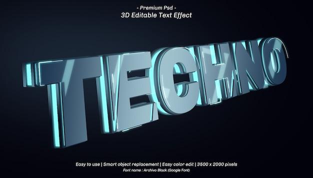 Efeito de texto editável em 3d techno Psd Premium
