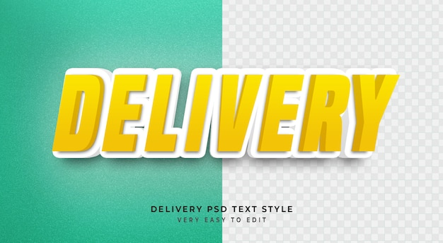 Efeito de texto editável, entrega amarelo 3d texto estilo maquete psd Psd Premium