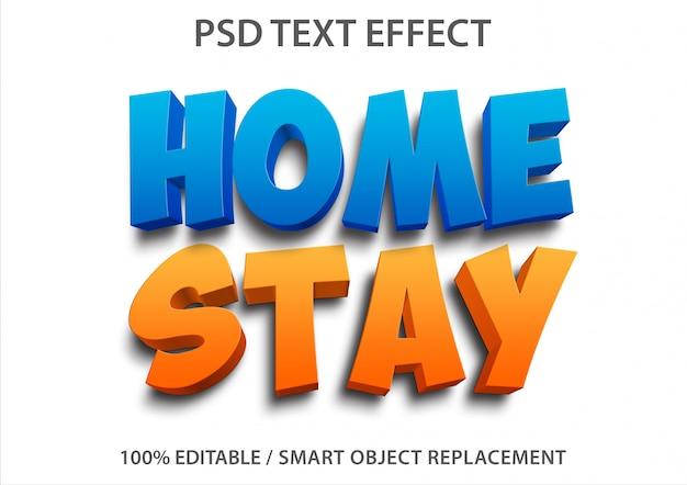 Efeito de texto editável home stay Psd Premium