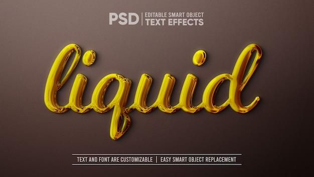 Efeito de texto editável ouro líquido maquete de objeto inteligente Psd Premium