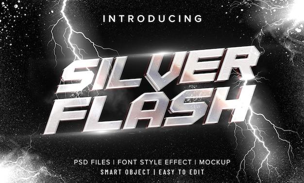 Efeito de texto em 3d prata flash metal cromado Psd Premium