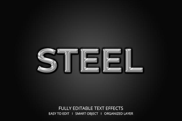 Efeito de texto em aço estilo 3d Psd Premium