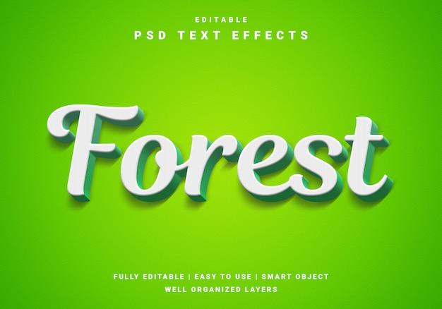 Efeito de texto em cores da floresta 3d moderna Psd Premium