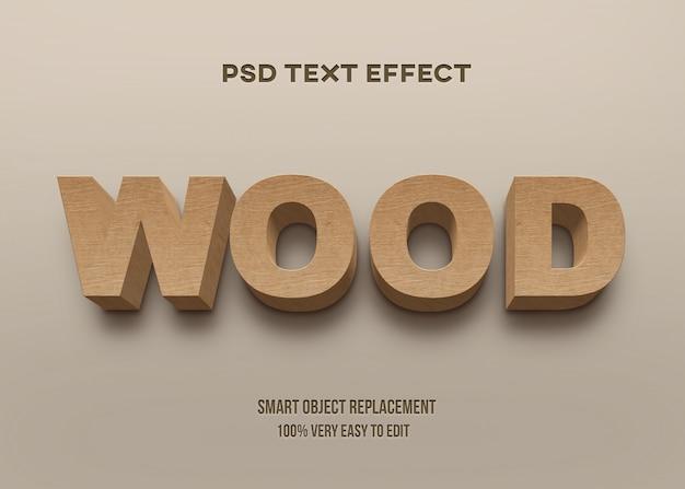 Efeito de texto em madeira em negrito forte 3d Psd Premium