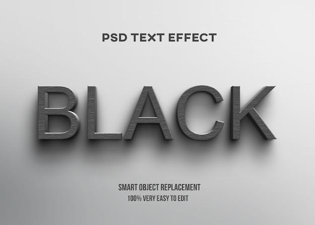 Efeito de texto em madeira preto 3d Psd Premium