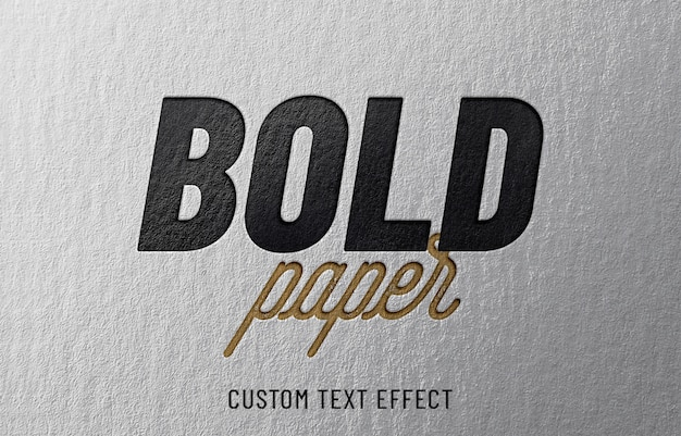 Efeito de texto em papel em negrito Psd Premium