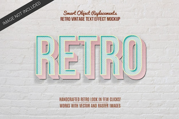 Efeito de texto estilo vintage retrô Psd Premium