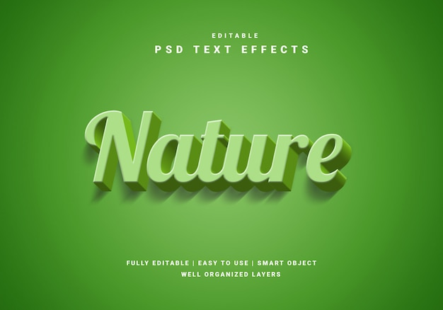 Efeito de texto natureza 3d Psd Premium