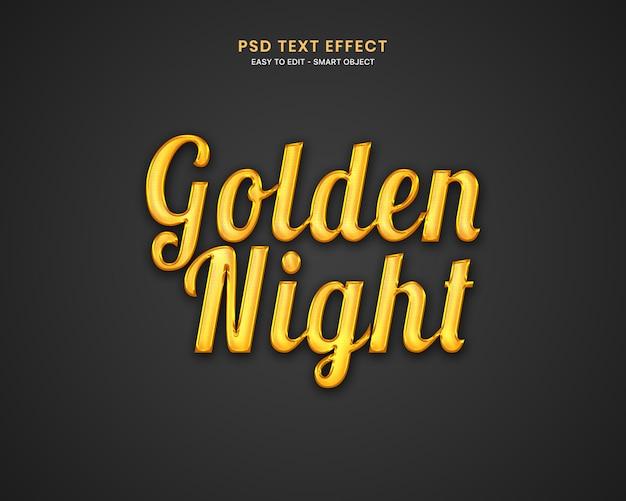 Efeito de texto noite dourada Psd Premium