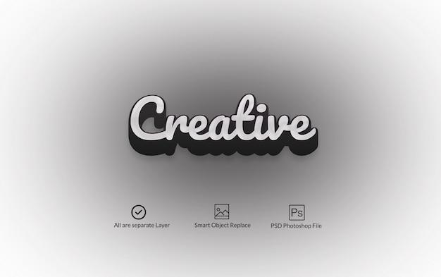 Efeito de texto photoshop 3d em preto e branco Psd Premium