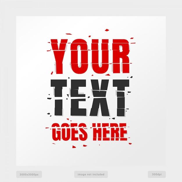Efeito de texto quebrado Psd Premium