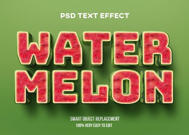 Efeito de texto realista de melancia 3d Psd Premium