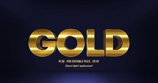 Efeito de texto realista ouro 3d Psd Premium