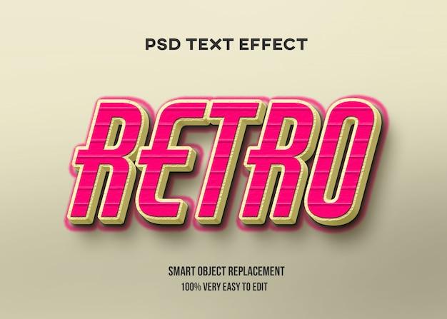Efeito de texto retrô amarelo vermelho Psd Premium