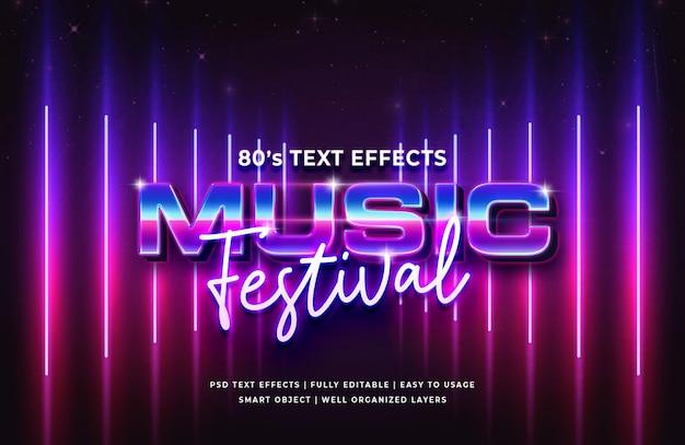 Efeito de texto retrô do festival de música dos anos 80 Psd Premium
