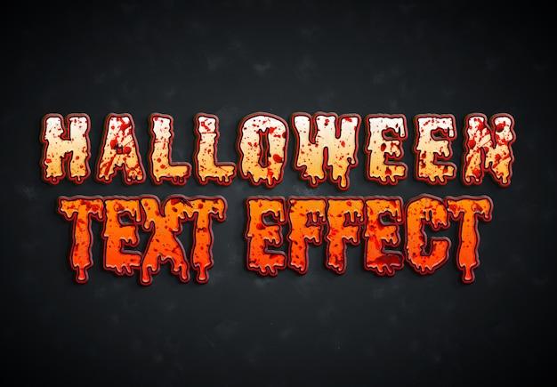 Efeito de texto sangrento de halloween Psd Premium