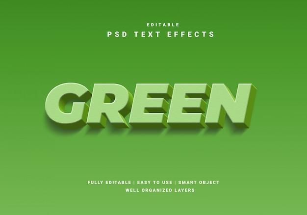 Efeito de texto verde natureza estilo 3d Psd Premium