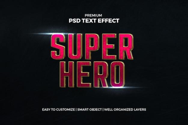 Efeito de texto vermelho cinematográfico do super-herói Psd Premium