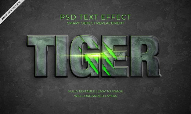 Efeito do texto do tigre Psd Premium