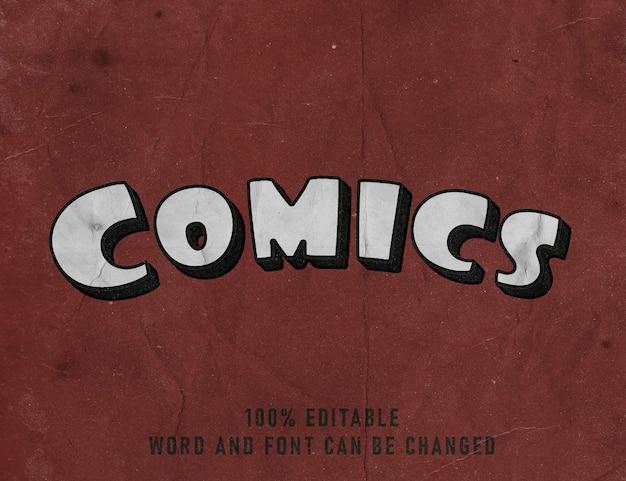 Efeito texto texto quadrinhos fonte editável quadrinhos estilo cor cartaz Psd Premium