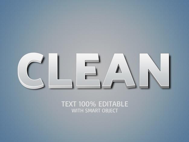 Efeitos de texto 3d limpos Psd Premium