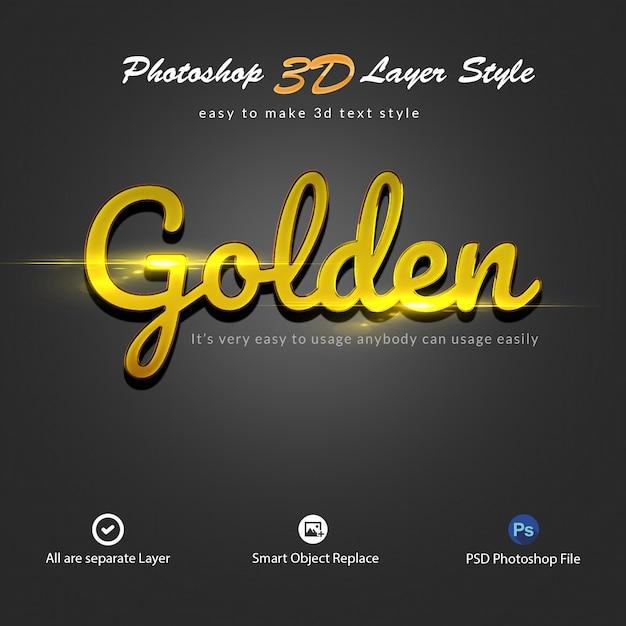 Efeitos de texto de estilo de camada de ouro 3d photoshop Psd Premium