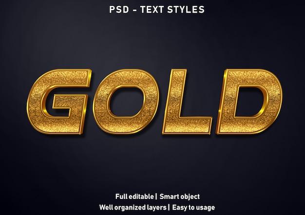 Efeitos de texto de ouro estilo psd editável Psd Premium