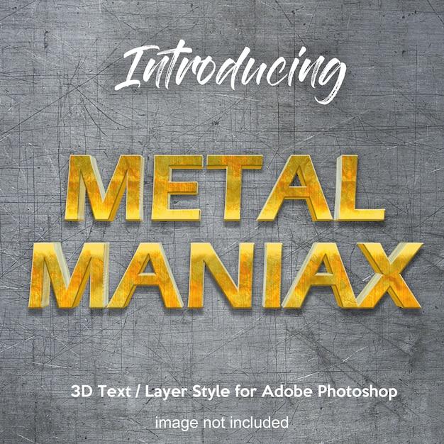 Efeitos de texto do estilo da camada do photoshop do cromo do ferro do metal 3d Psd Premium