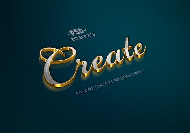 Efeitos de texto editáveis de luxo estilo prata ouro Psd Premium