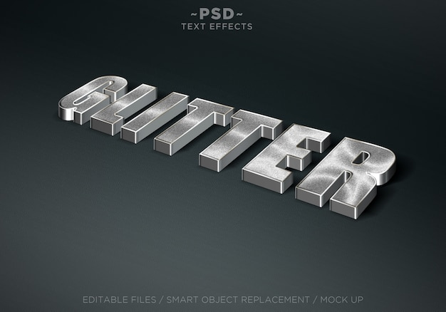 Efeitos de texto editável do estilo 3d glitter prata Psd Premium