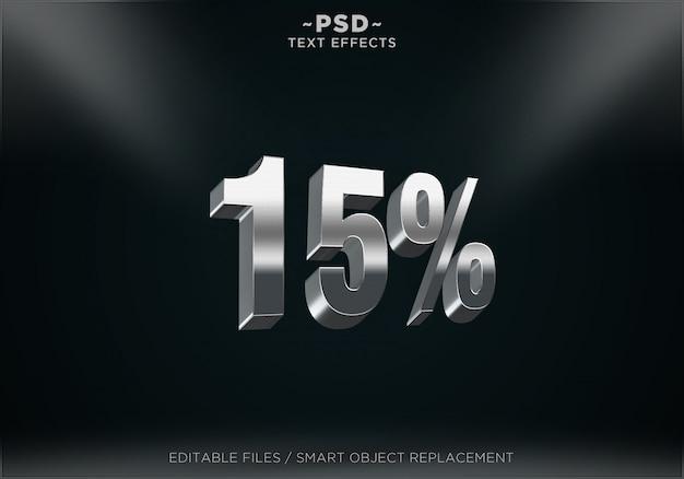 Efeitos de texto editável em prata com desconto de 15% Psd Premium