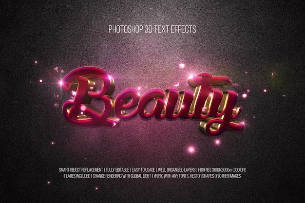 Efeitos de texto em photoshop 3d beleza Psd Premium