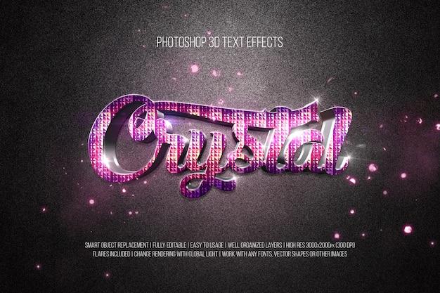 Efeitos de texto em photoshop 3d crystal Psd Premium