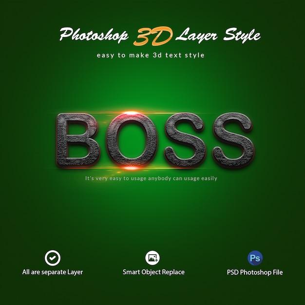 Efeitos de texto no estilo da camada do photoshop 3d Psd Premium