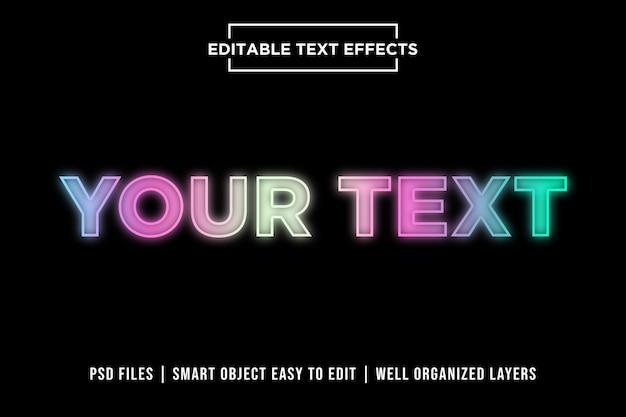 Efeitos de texto premium de luzes de néon coloridas Psd Premium