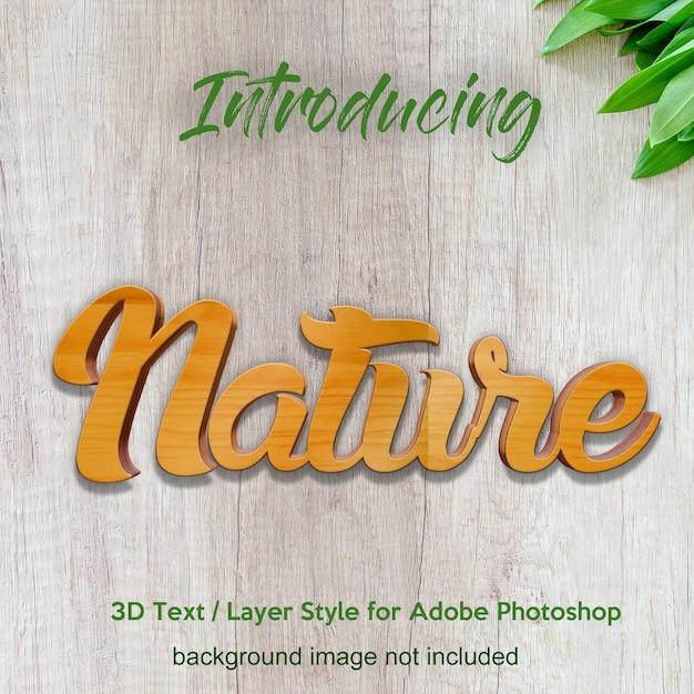 Efeitos do texto do estilo da camada do photoshop da placa da madeira da madeira 3d Psd Premium